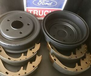 75-86 FORD PARTS  F100 BRAKE DRUMS + SHOES PAIR  WITH 73mm CENTRE HOLE