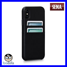 SENA Bence Snap-on genuine Leather Wallet case, card pockets for iPhone X, Black