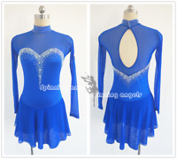 ice figure skating competition dress Gymnastics costum blue dance Dress W156