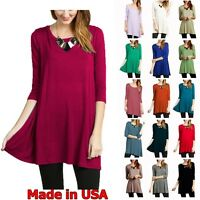 USA NEW Womens 3/4 Sleeve Tunic Top Dress Round Neck Blouse S M L Plus 1X 2X 3X