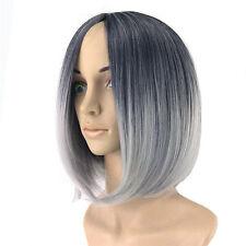 Black Grey Lady Women's Short Full Wig Heat Resistant Hair Cosplay Wigs >_<m