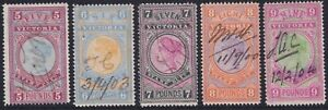 VIC 1886-96 series. High value Stamp Duties, £5 to £9 fiscally used. SG 324-328