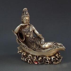 Chinese Silver Buddhism Fane Sleep Kwan-Yin Guan Yin Bodhisattva Buddha Statue