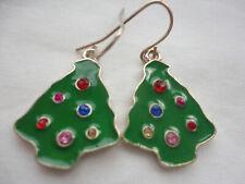 Gold-plated green enamel Xmas tree crystal baubles 4 gram 34 mm pierced earrings