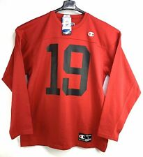 NWT CHAMPION T9473 FOOTBALL JERSEY Sports Athletic # 19 RED Long sleeve Men's L