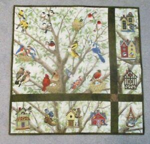 """Hand Made Art Quilt / Wall Hanging   """"Birds & Birdhouses"""" ~ 24"""" x 24"""""""