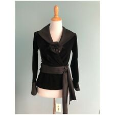 $250 Tadashi Collection Black Velvet Satin Bow Blouse Blazer Size XS