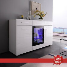 Elegant RGB LED Lighting Sideboard Cabinet Cupboard Buffet High Gloss White Unit