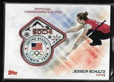 AWESOME RARE 2014 TOPPS OLYMPIC JESSICA SCHULTZ SOCHI PIN CARD ~ USA CURLING