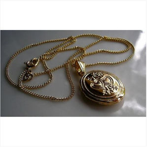 9ct oval locket on chain necklace gf LIMITED OFFER, SILLY PRICE 98