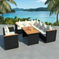 vidaXL Outdoor Dining Set 27 Piece Wicker Poly Rattan Black WPC Garden Lounge