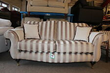 BUCKINGHAM CREAM & BEIGE STRIPED FABRIC 3 SEATER SOFA. INC ARM COVERS+SCATTERS