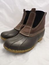 LL BEAN excellent brown leather rubber winter snow boots 7W