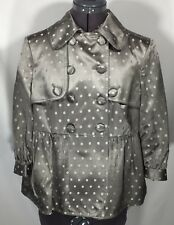 NWT Ted Baker Abram Women's Polka Dot Cropped Gray Silk Blend Jacket Sz 3 US 8
