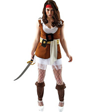 Ladies Sexy Pirate Brown Adult Fancy Dress Costume Buccaneer Halloween Outift