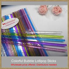 """50pcs 6"""" (15cm) reusable colorful bubble Sticks For Cake Pops Lollipop Candy"""
