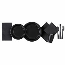 "14x 9"" Square Paper Plates 23cm Plain Solid Colours Birthday BBQ Party Tableware Black"