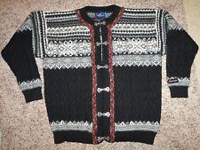 ICEWEAR pewter toggle virgin wool nordic fairisle cardigan ski sweater winter L