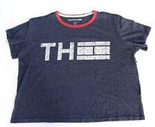 Tommy Hilfiger Sport Women's Short Sleeve Logo Crop Tee Shirt M Heather Blue