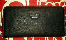 NEW WABASH ZIP-AROUND BLACK /RED FAUX LEATHER WOMEN WALLET WITH REMOVABLE STRAP.
