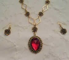 VICTORIAN STYLE- DIAMOND ROSE - RICH RED AC CRYSTAL GOLD PLATED NECKLACE SET