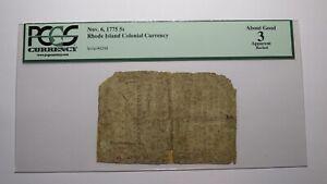 1775 Five Shillings Rhode Island RI Colonial Currency Note Bill! PCGS Graded 5s