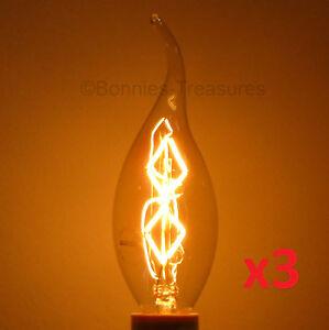 3pk Nostalgic 25w Edison Antique Chandelier Light Bulb E12 Candelabra Base