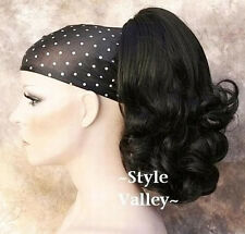 Black Ponytail Extension Hairpiece Flip out Curly Claw Clip in / on Hair Piece