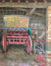 "ORIGINAL DAVID ALDUS Oil on Canvas  ""The Old Cart"" Horse Carriage coach PAINTING"