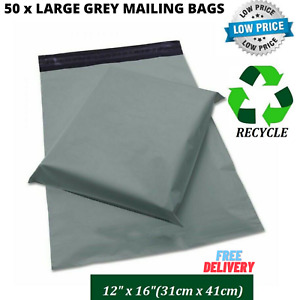 """50x Bags 12"""" x 16"""" Strong Grey Mailing Bags Postal Postage Bags For Small Parcel"""