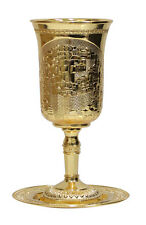Elijah's Cup Tall Kiddush Golden Cup of Jerusalem with Saucer for Passover Seder