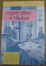 RSC - The Merry Wives of Windsor October 1959 facsimile