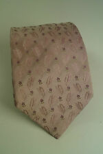 ROCCOBAROCCO Thick Woven Silk Tie Pink Necktie Flowers, Feathers Made in Italy