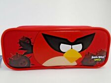 RED Angry Birds Pencil Pouch SINGLE Zippered Pencil Case HOLDER School Bag
