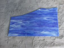 Vintage Blue & White Swirl Textured Stained Glass Window Piece, 6 by 15 Inches