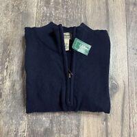 LL Bean Mens Cotton Cashmere Quarter Zip Pullover Sweater XXL Blue 275298 NWT