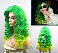 New Lady Gaga Popular Mix Green Yellow Hair Curly Women Party Full Cosplay Wigs
