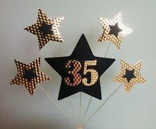 35th BIRTHDAY or ANNIVERSARY CAKE TOPPER. STARS, Black and Gold.