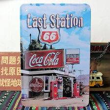 US Route 66 Last GAS Petrol Station Coca Cola Metal Tin Sign Wall Deco Garage Ad
