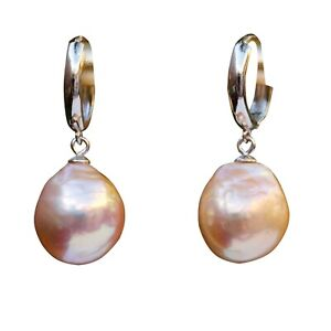 Gorgeous 12x13mm Baroque Kasumi Freshwater Purple pearl Earring Dangle S925 TH80
