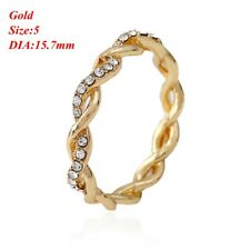 Women Fashion 14K Solid Crystal Stack Twisted Ring Wedding Party Elegant Jewelry