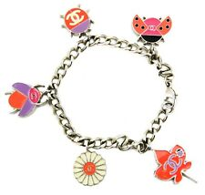 Chanel Multicolor Painted Enamel Silver-tone Daisy and Ladybug Charm Bracelet