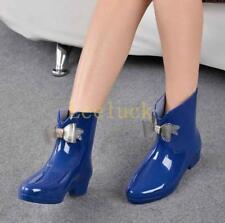 Womens Bowknot Low Heels Rubber Ankle Rainboots Waterproof Wellington Shoes