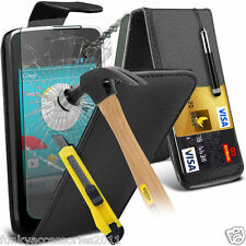 Top Flip Quality Leather Phone Case Cover✔Glass Screen Protector for Vodafone