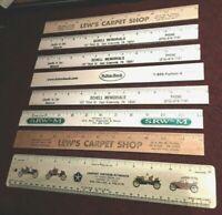 """Real Nice Lot of 8 Advertising 12"""" Rulers 1 Metal 7 Wood"""