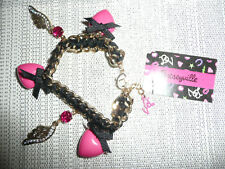 BETSEY JOHNSON ~ Pink hearts black bow & wings Gold Charm bracelet