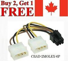 4-Pin IDE Dual Molex to 6-Pin PCI-E Express Power Adapter Cable Cord PC Splitter
