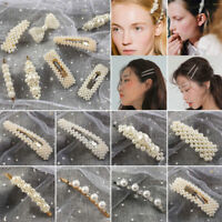 Women Hair Accessories Charm Pearl Hair Clip Snap Barrette Stick Hairpin Jewelry