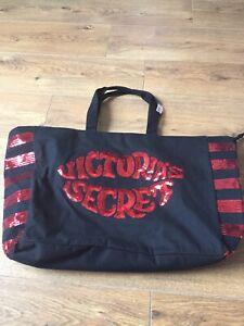 "Victoria's Secret Bag Black Canvas Red Sequined 13x23"" Beach Bucket Shopping"