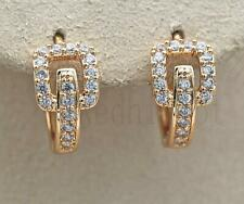 18K Gold Filled Earrings Square Hollow Gems Topaz Zircon Hoop Stud Prom Party BR